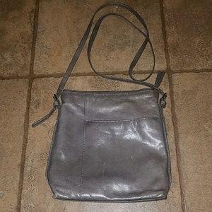 Hobo international gray leather crossbody bag